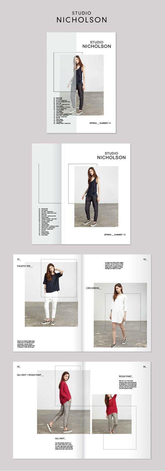 Anordnung Bilder, Linien   Studio Nicholson Lookbook by Rebecca Moores, via Behance
