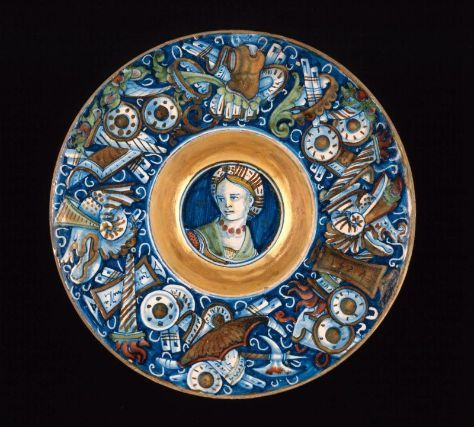 Plate with female head and border with trophies  Italian (Gubbio), dated 1524  Probably by Maestro Giorgio Andreoli, Italian, born in 1465–70, died in 1555