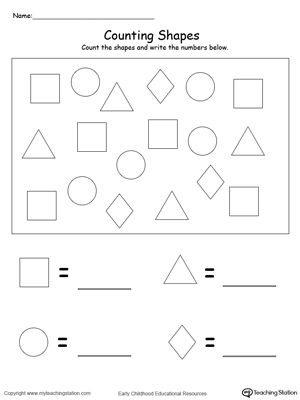 Count and Write the Number of Shapes | Kindergarten, Number ...