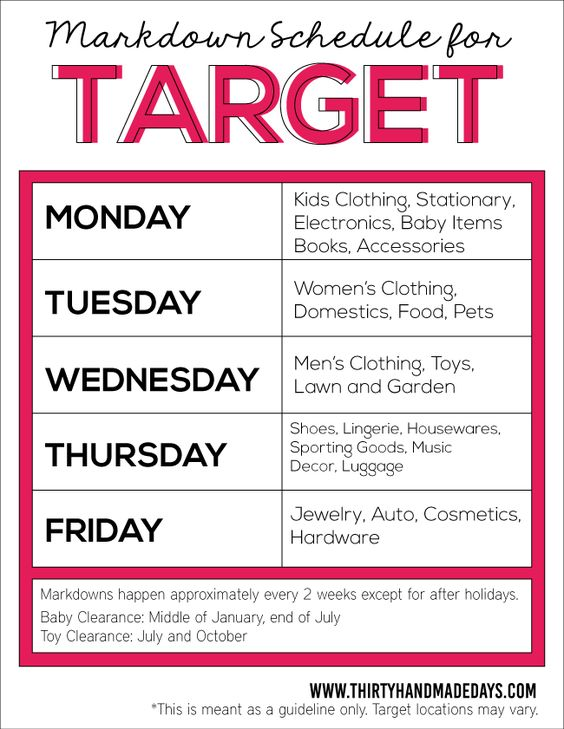 Target Markdown Schedule  for saving money from www.thirtyhandmadedays.com