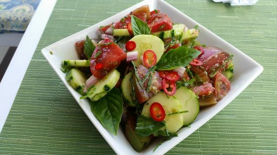 Cucumber Tomato Salad - This recipe makes two to four servings.