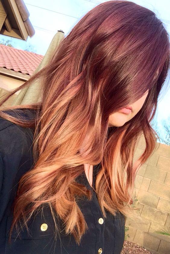 Auburn burgundy blonde ombr hair hair pinterest cheveux blonds blondes et couleur bourgogne - Couleur ombre hair ...