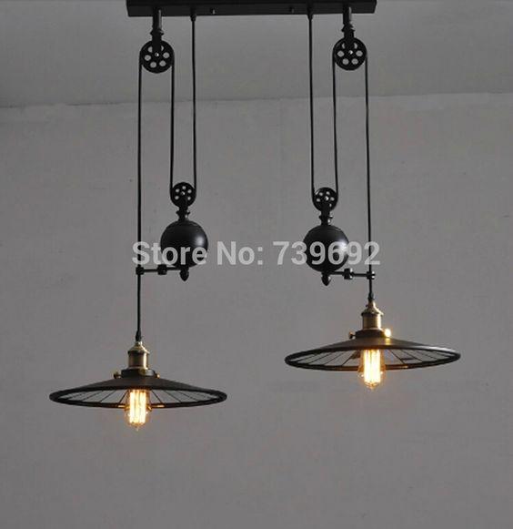nouvelle arrivée 2014 rh vintage loft poulie ascenseur double curseur miroir lampes suspendues poulie industrielle bar luminaire dans Éclairage suspendu de Lumière et éclairage sur AliExpress.com | Alibaba Group