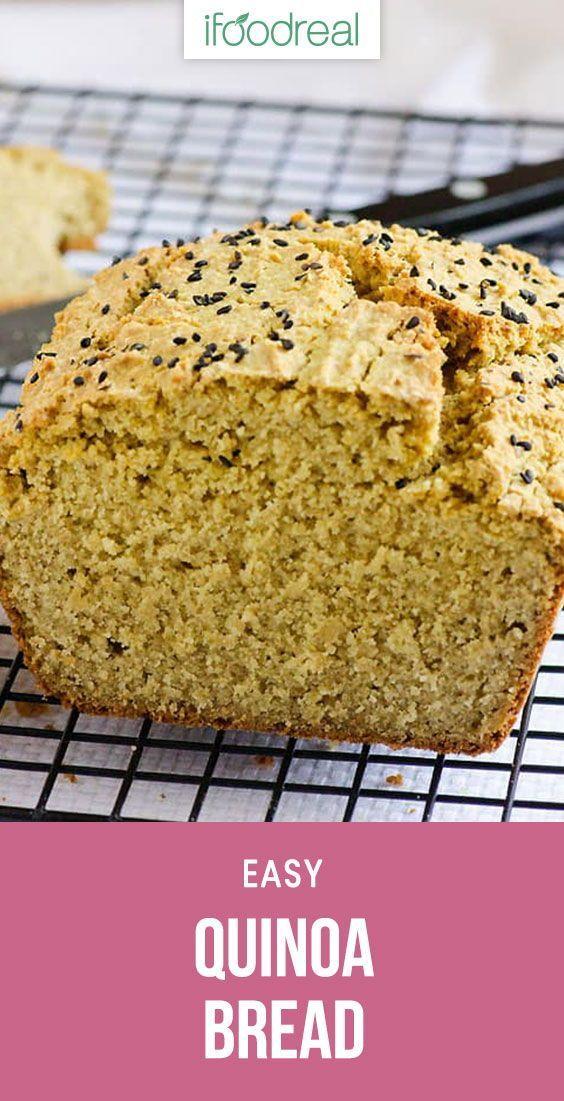 Quinoa Bread Recipe Is Yeast And Gluten Free Made With Dry Quinoa Oat Flour Coconut Oil And Almond Milk Very Simple I Quinoa Bread Food Quinoa Flour Recipes