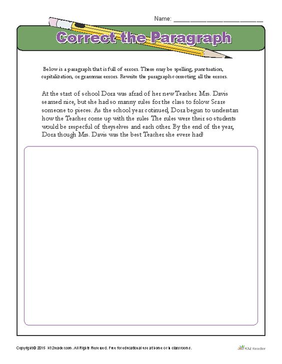 Correct The Paragraph Activities Home And Student