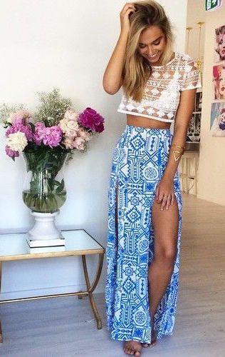 #summer #fashion / slit maxi skirt +sheer crochet lace
