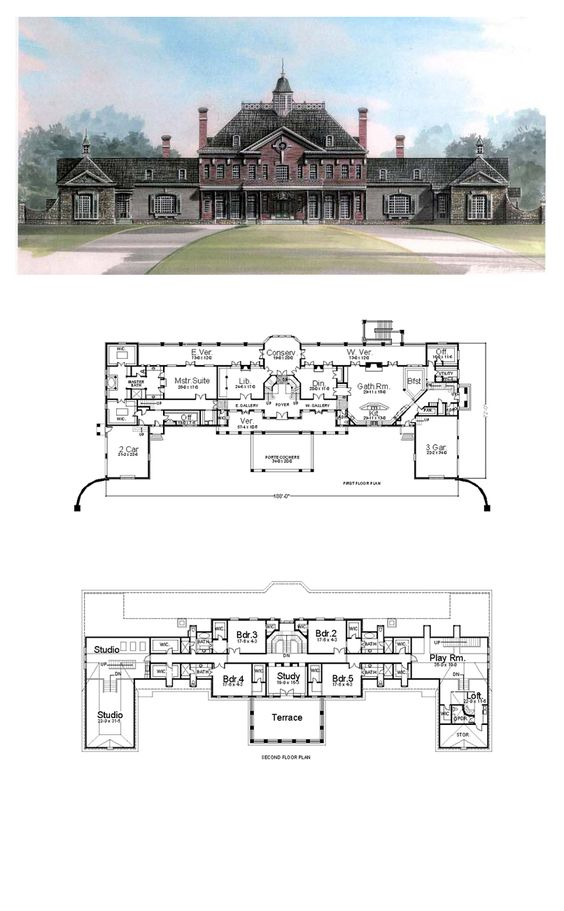 House plans mansion houses and wall of windows on pinterest for Greek revival floor plans