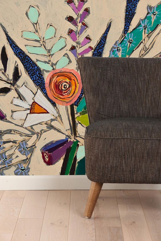 Lulie Wallace Flowers For Phoebe Wall Mural  #UrbanOutfitters