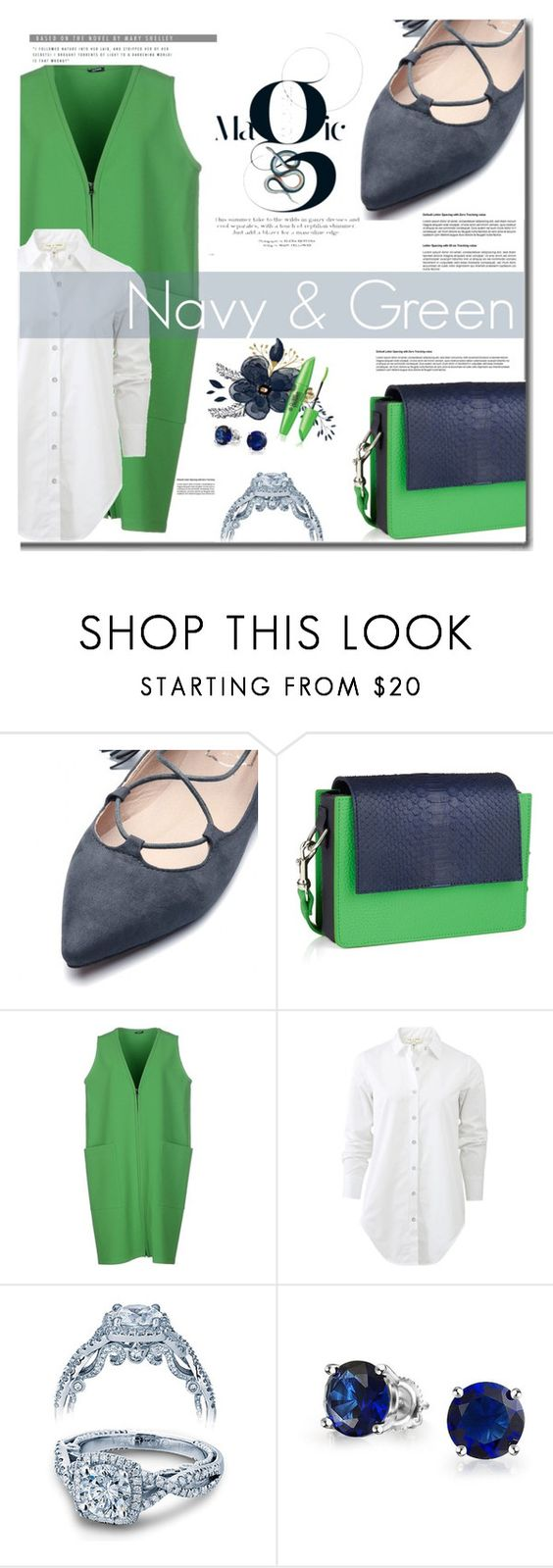 """Navy & Green"" by mslewis6 ❤ liked on Polyvore featuring Jil Sander Navy, rag & bone, Baku, Verragio and Bling Jewelry"