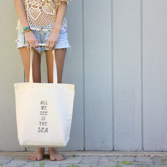 all we see is the sea. black. screen print cotton tote..via tenthings