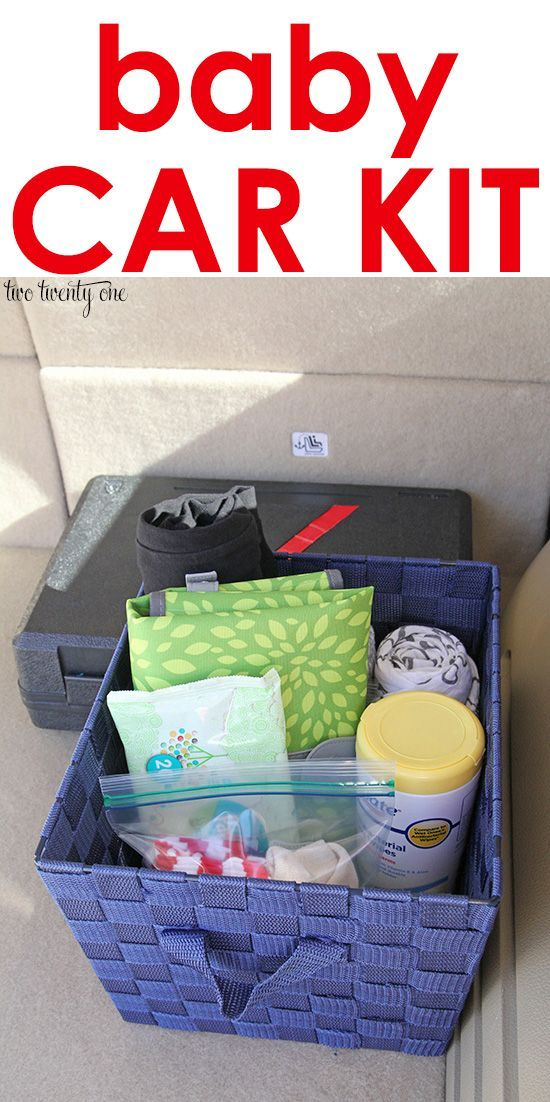Baby kit car diaper changing pad clutch • change of clothes for me • baby wipes • antibacterial wipes • baby blanket • change of clothes for baby (one piece outfit, socks, hat) • nursing pads • pacifiers