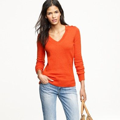 J. Crew Wynter V-neck Sweater, love the buttons along each shoulder.  Cute.