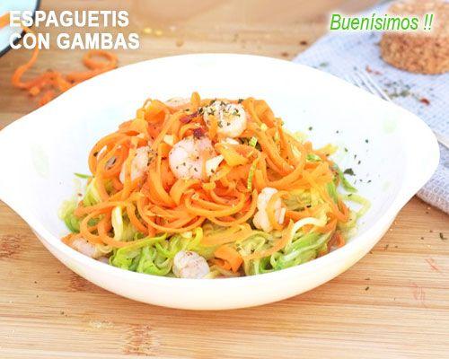 Espaguetis Vegetales Con Gambas Al Ajillo Espagueti Con Verduras Espaguetis Gambas Al Ajillo