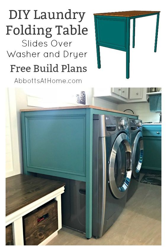 Diy Table Over Washer And Dryer Laundry Table Abbotts At Home Laundry Table Diy Laundry Laundry Folding Tables