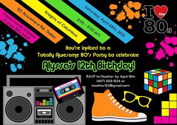 Neon Party Invitation for amazing invitation template