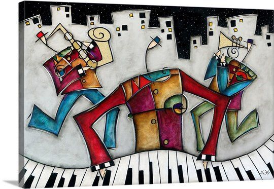 Silver City Jazz By Eric Waugh Painting Print On Canvas Jazz Wall Art Music Wall Art Canvas Art Prints