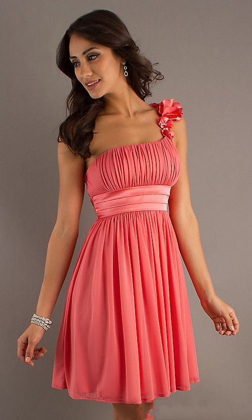 pink coral Cocktail Dresses   One Shoudler Ruched Pink Prom Dresses 2013 on sale on OnlinePromDress ...