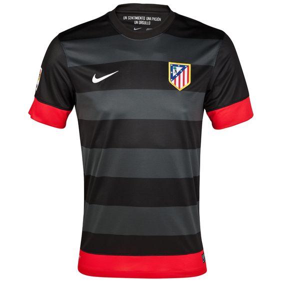 12/13 Atletico Madrid Away Black Soccer Jersey Shirt Replica