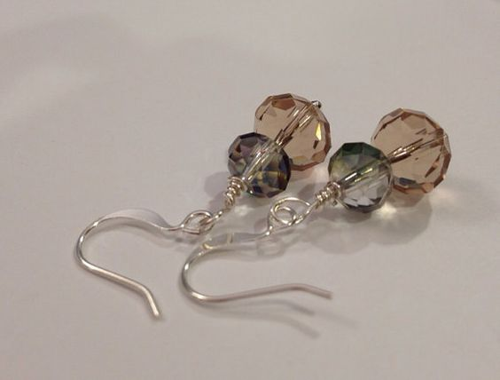 Multifaceted crystal beaded earrings by daretodangle on Etsy, $12.95