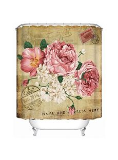 Retro Style Graceful Peony and Postmark Printing 3D Shower Curtain