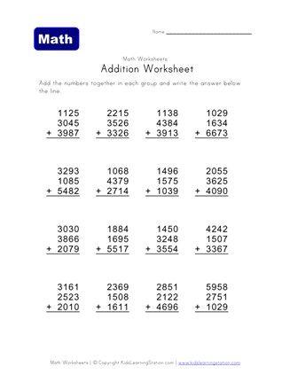 4 Digit 3 Addend Addition Worksheet All Kids Network Math Addition Worksheets Addition Worksheets Math Fact Worksheets