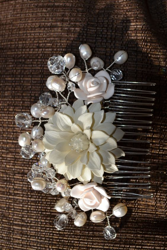 Bridal hair comb, created with vintage celluloid brooch, upcycled porcelain earrings and real pearls and crystals.  real freshwater pearls and Swarovski crystal beads. Custom designs available from Very Vintage - bridal accessories on Facebook https://m.facebook.com/veryvintagebridalaccessories