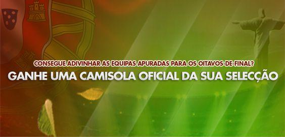 Entre 26 de Maio e 11 de Junho, aposta nas equipas qualificadas para os oitavos-de-final do Mundial do Brasil. Se for um dos 100 primeiros participantes a acertar, a Betclic oferece-lhe uma camisola oficial de uma Selecção à sua escolha! #Brasil2014