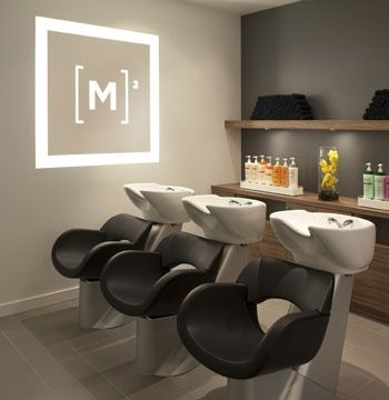Shampoos salons and the wall on pinterest for Modern salon stations