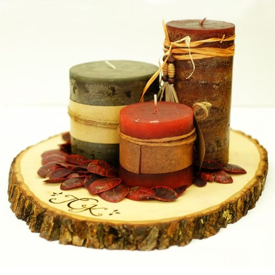 Tree slices rustic wood and centerpieces on pinterest