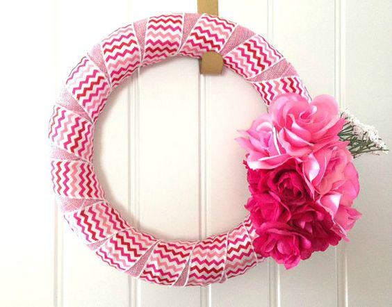 12 Pink Chevron and Pink Ribbon Wrapped Foam by MadeByJeNeSaisQuoi