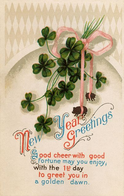 New Year Greetings - good cheer with good fortune my you enjoy! #vintage #New_Years #postcards #cards