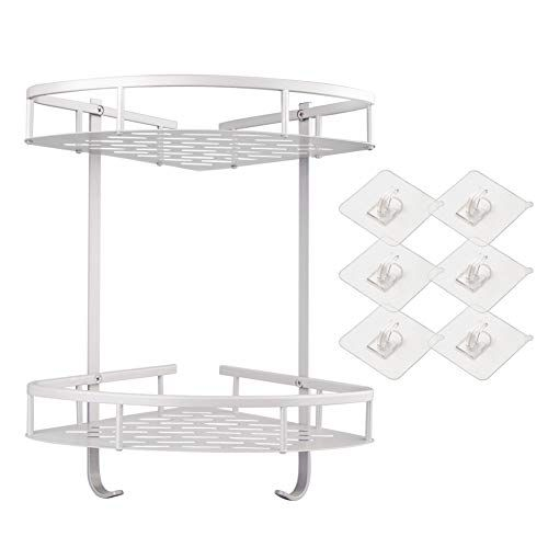 Shower Caddy Bathroom Corner Shelf No Drilling 2 Tiers Aluminum Shower Shelf Adhesive Suction Bathroom Shelves Bathroom Shelves Shower Shelves Shower Storage
