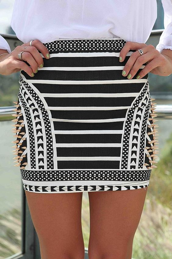 Black And White Short Skirt