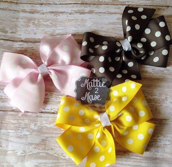 Basic Bow Set/Summer Bows/Polka Dot Bows/Unique Gifts/Handmade Bows/Basic Bows/Simple Bows/Everyday Bows/Back to School Bows