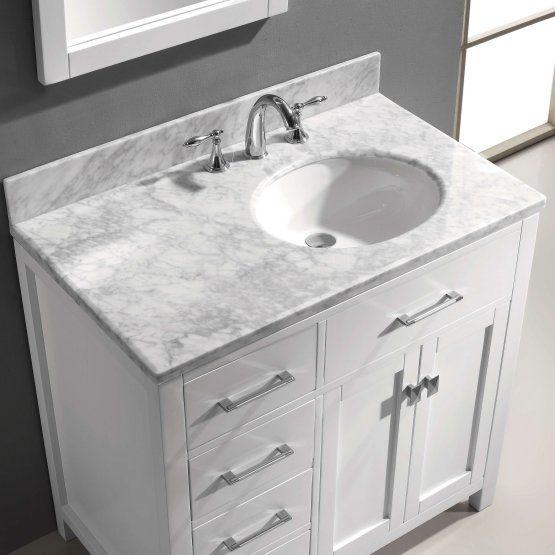 Virtu Usa Caroline Parkway 36 In Single Bathroom Vanity With Right Offset Round Sink Bathroom Sink Vanity Single Sink Bathroom Vanity Single Bathroom Vanity