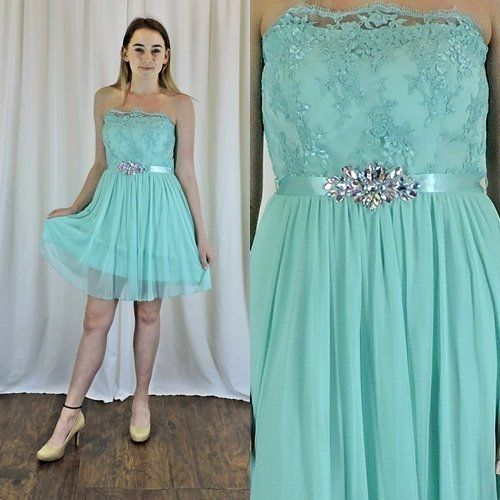 80s Strapless Party Dress Size 6 7 Seafoam Green Light Teal