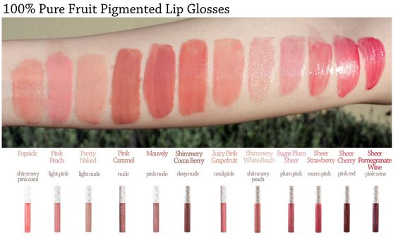 100% Pure Lip Gloss Swatches