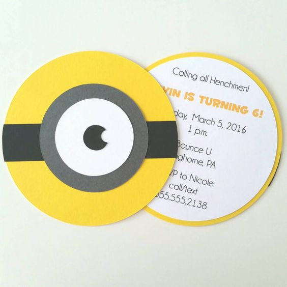 Minion Invitation  Pack of 10 by bellybeancards on Etsy