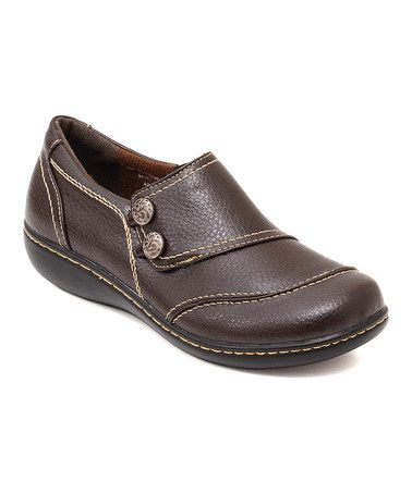 Love this Brown Clarisa Wide Double Button Embroidered Clog by Cushionaire on #zulily! #zulilyfinds