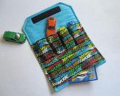 The ORIGINAL Car Wallet with Pocket (holds 4) ... Trains (orange). $15.00, via Etsy.