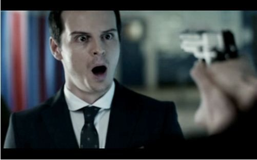 "Andrew Scott as Jim Moriarty in ""Sherlock.""  Letting Sherlock savor the look of surprise on his face.  Brilliant beyond belief."