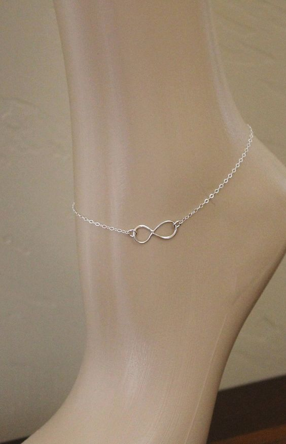 Sterling Silver Infinity Anklet. $25.00, via Etsy.