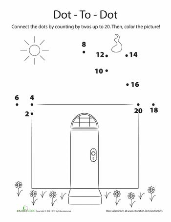 Counting by 2s Dot to Dot | House, Dots and Worksheets