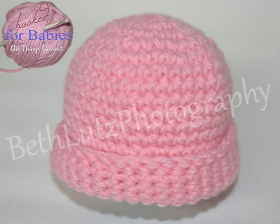 Size Newborn Handmade Crochet Baby Hat Pink Baby by Hooked4Babies