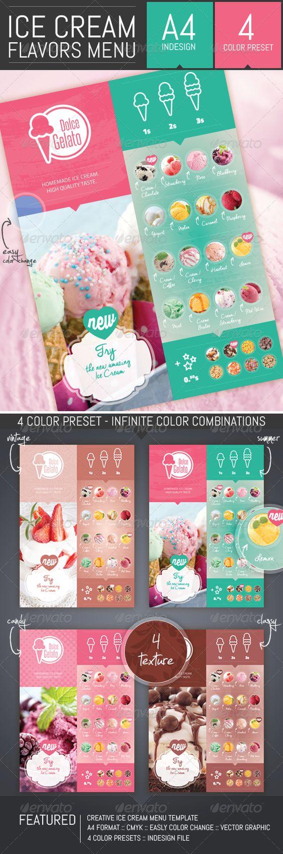 Ice Cream Flavor Menu Template #design Download: http://graphicriver.net/item/ice-cream-flavor-menu-template/8515743?ref=ksioks