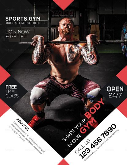 Gym Sport Flyer Template Gym Advertising Sports Flyer Fitness Flyer