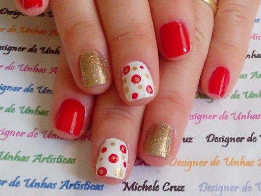 Vermelho branco e dourado