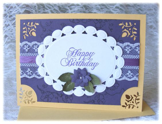 Elegant Handmade Birthday Card with 3D flowers and by nuts4mccoy, $3.95