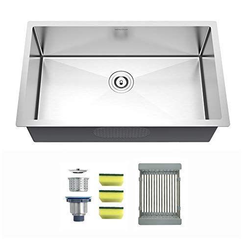 Mensarjor 27 Inch Undermount Single Bowl Kitchen Sink 18 Gauge