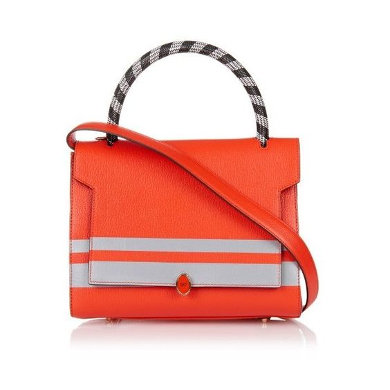 Anya Hindmarch Bathurst reflective-stripe leather tote ($1,702) ❤ liked on Polyvore featuring bags, handbags, tote bags, red, red leather handbag, striped tote, pocket tote, red handbags and red tote